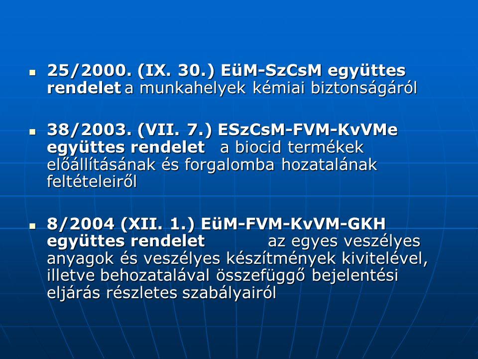 25/2000. (IX. 30.) EüM-SzCsM együttes rendeleta munkahelyek kémiai biztonságáról 25/2000.