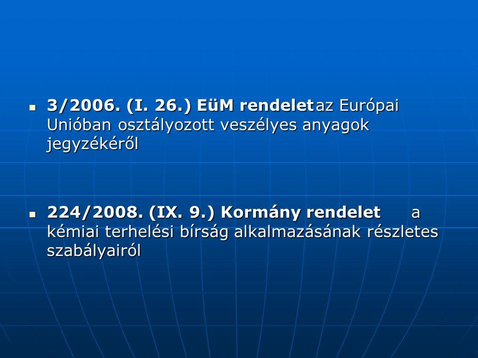 3/2006. (I. 26.) EüM rendeletaz Európai Unióban osztályozott veszélyes anyagok jegyzékéről 3/2006.