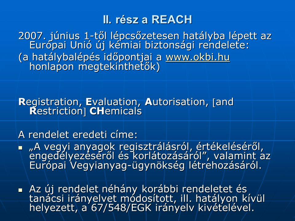 II. rész a REACH 2007.