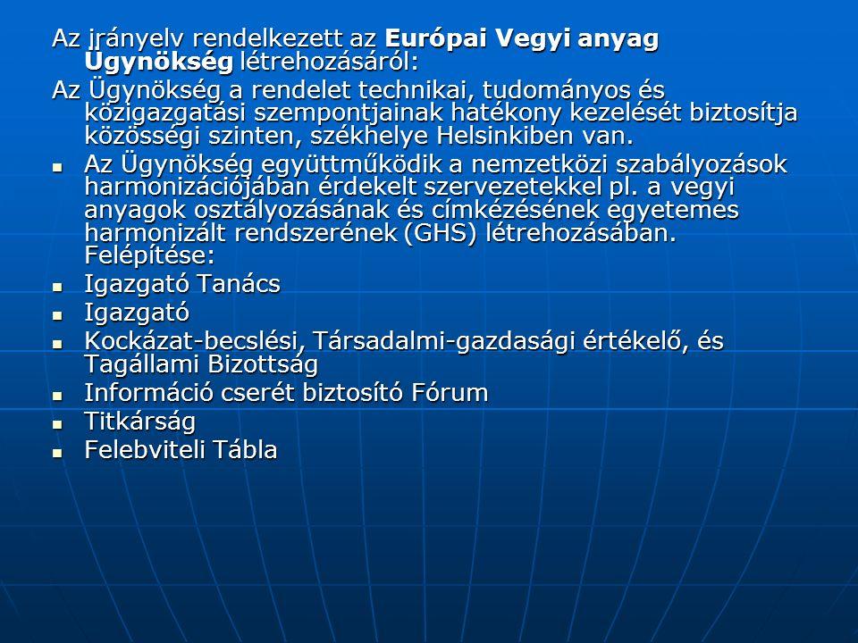 Az irányelv rendelkezett az Európai Vegyi anyag Ügynökség létrehozásáról: Az Ügynökség a rendelet technikai, tudományos és közigazgatási szempontjainak hatékony kezelését biztosítja közösségi szinten, székhelye Helsinkiben van.
