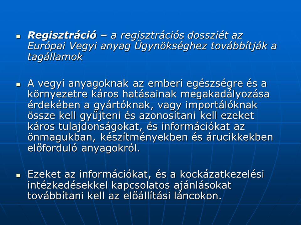 Regisztráció – a regisztrációs dossziét az Európai Vegyi anyag Ügynökséghez továbbítják a tagállamok Regisztráció – a regisztrációs dossziét az Európai Vegyi anyag Ügynökséghez továbbítják a tagállamok A vegyi anyagoknak az emberi egészségre és a környezetre káros hatásainak megakadályozása érdekében a gyártóknak, vagy importálóknak össze kell gyűjteni és azonosítani kell ezeket káros tulajdonságokat, és információkat az önmagukban, készítményekben és árucikkekben előforduló anyagokról.