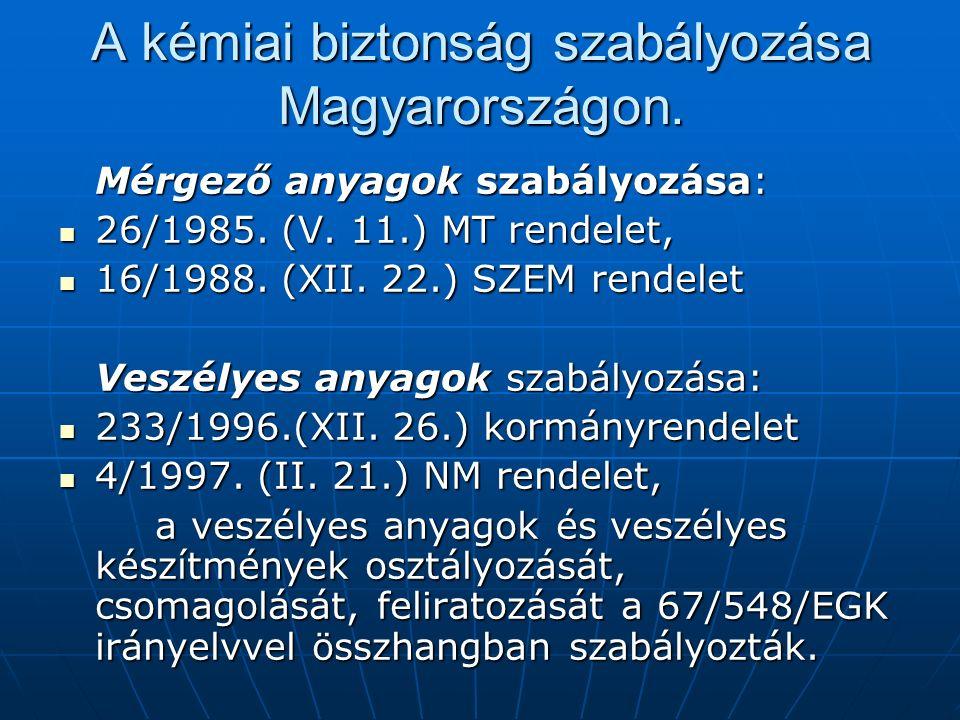 A kémiai biztonság szabályozása Magyarországon. Mérgező anyagok szabályozása: 26/1985.