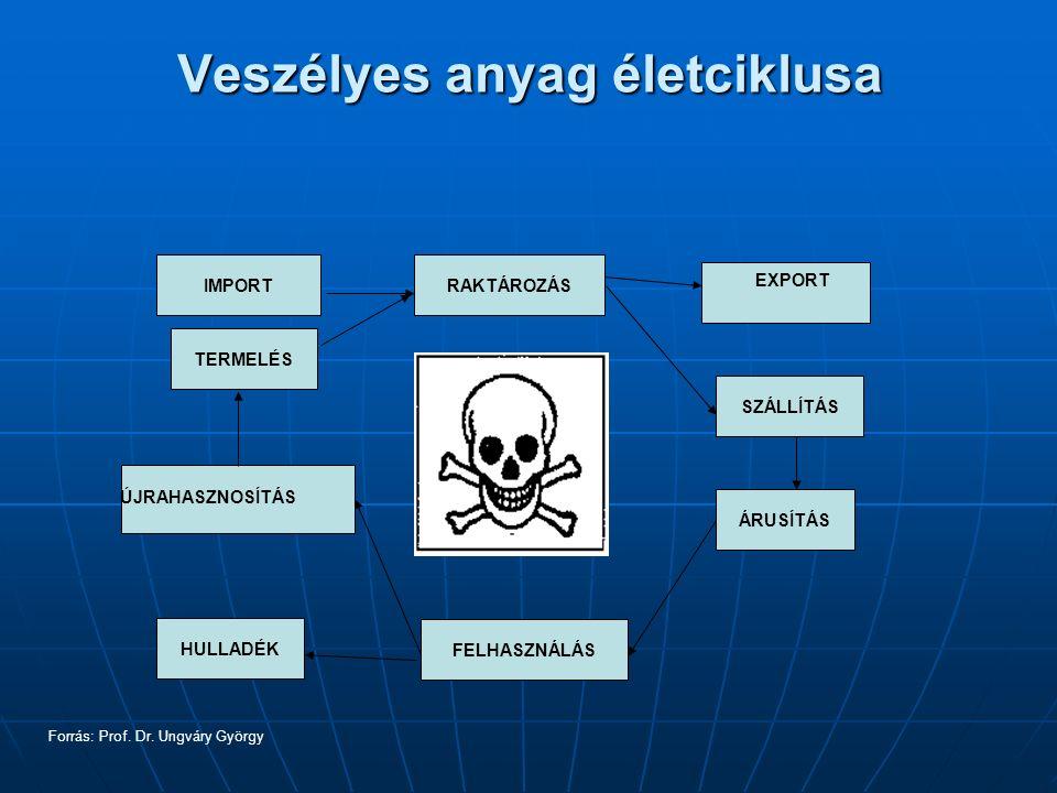 Veszélyes anyag életciklusa IMPORT TERMELÉS HULLADÉK RAKTÁROZÁS SZÁLLÍTÁS ÁRUSÍTÁS FELHASZNÁLÁS EXPORT ÚJRAHASZNOSÍTÁS Forrás: Prof.