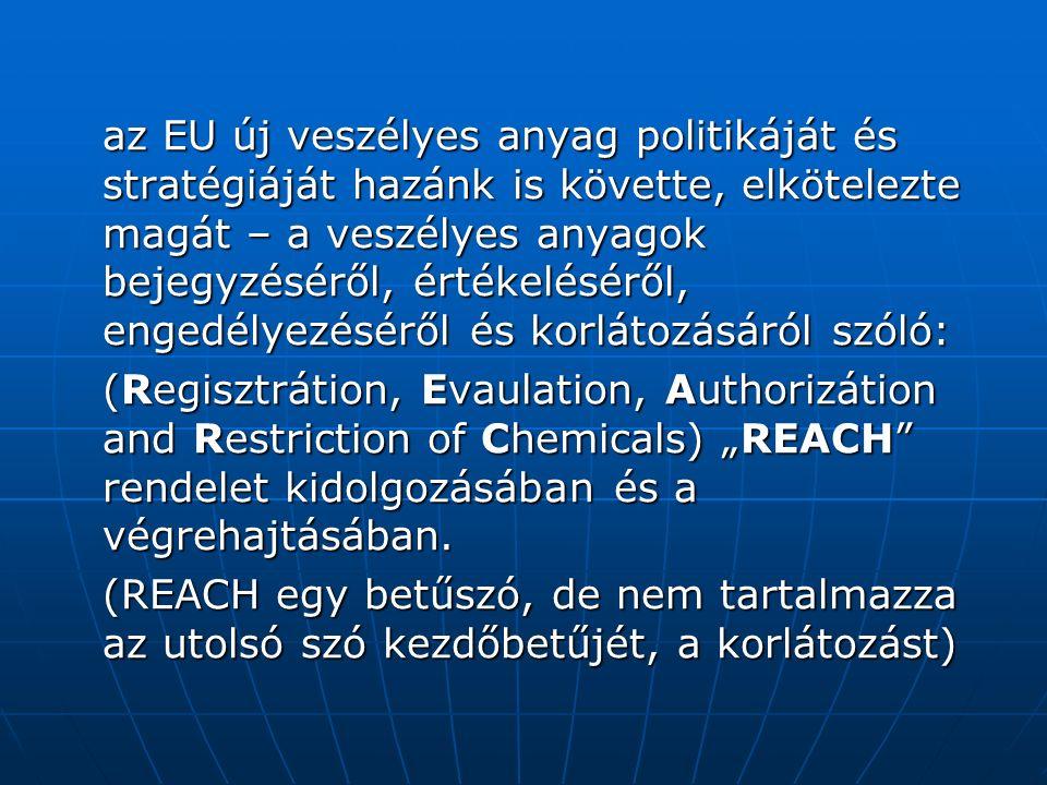 """az EU új veszélyes anyag politikáját és stratégiáját hazánk is követte, elkötelezte magát – a veszélyes anyagok bejegyzéséről, értékeléséről, engedélyezéséről és korlátozásáról szóló: (Regisztrátion, Evaulation, Authorizátion and Restriction of Chemicals) """"REACH rendelet kidolgozásában és a végrehajtásában."""