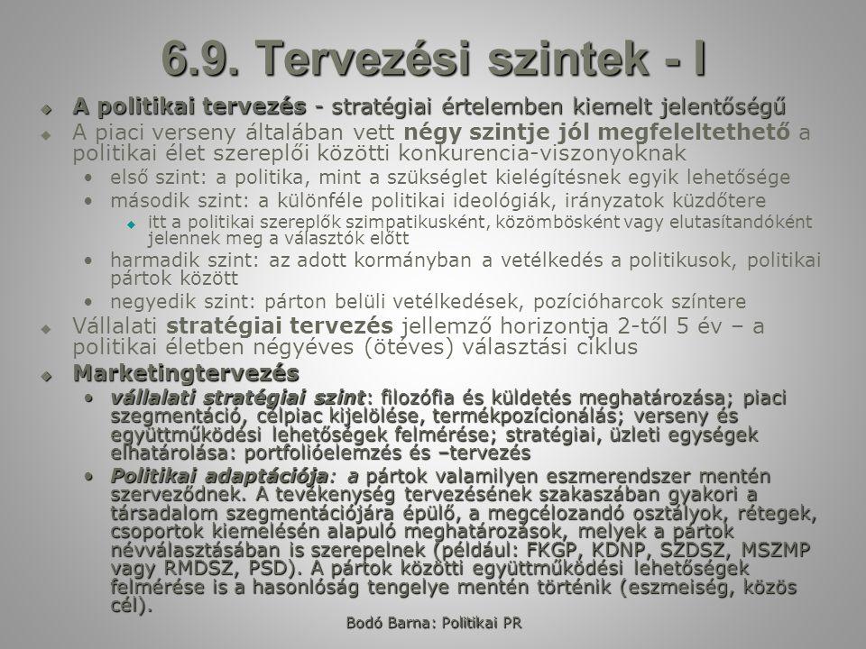 Bodó Barna: Politikai PR 6.9. Tervezési szintek - I  A politikai tervezés - stratégiai értelemben kiemelt jelentőségű   A piaci verseny általában v