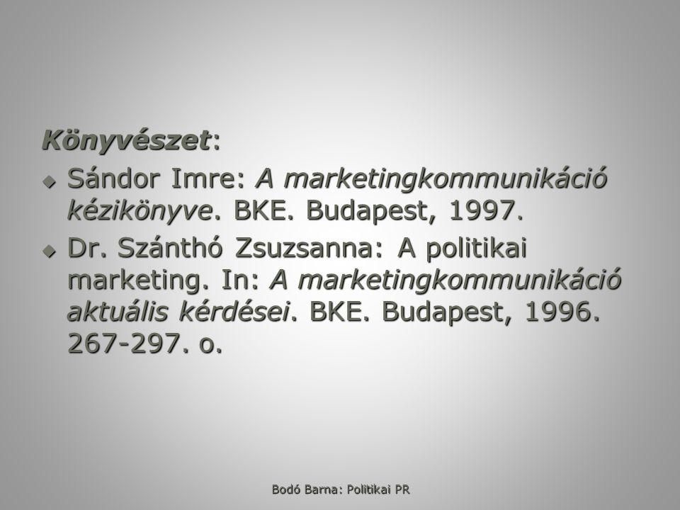 Könyvészet:  Sándor Imre: A marketingkommunikáció kézikönyve. BKE. Budapest, 1997.  Dr. Szánthó Zsuzsanna: A politikai marketing. In: A marketingkom