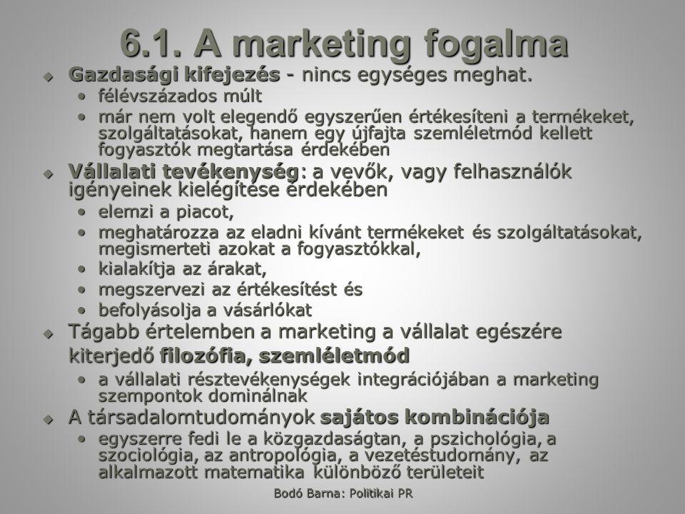 Bodó Barna: Politikai PR 6.1. A marketing fogalma  Gazdasági kifejezés - nincs egységes meghat. félévszázados múltfélévszázados múlt már nem volt ele