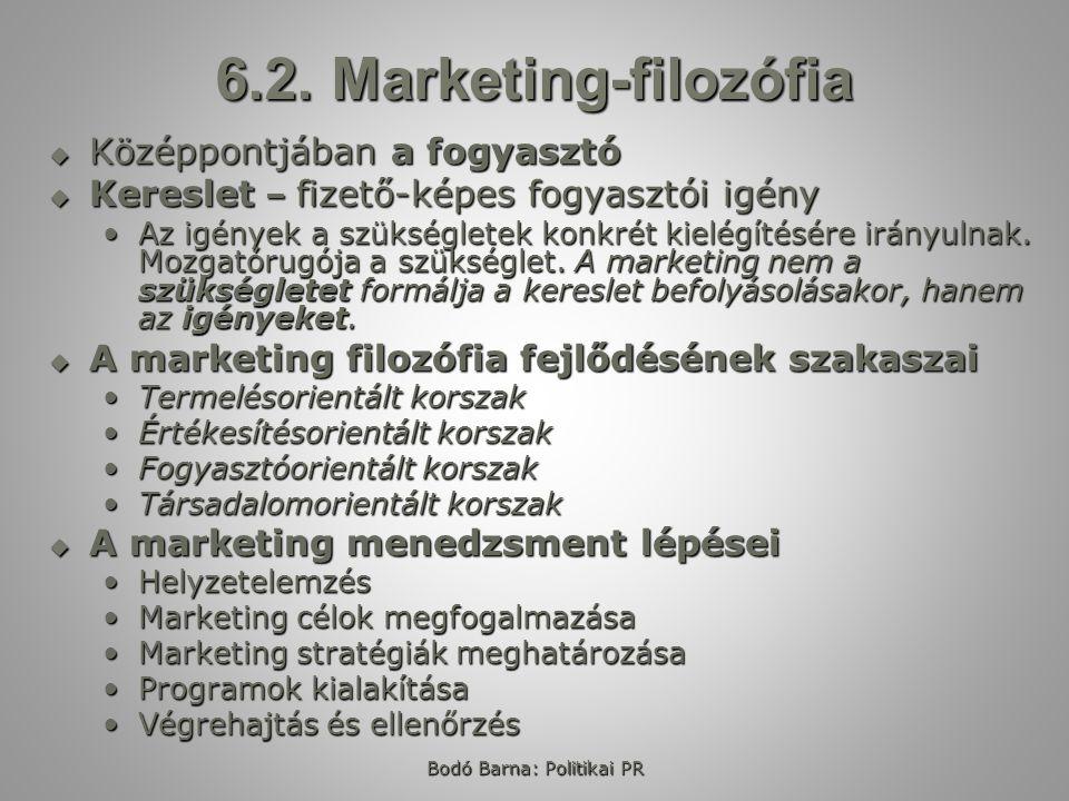 Bodó Barna: Politikai PR 6.2. Marketing-filozófia  Középpontjában a fogyasztó  Kereslet – fizető-képes fogyasztói igény Az igények a szükségletek ko