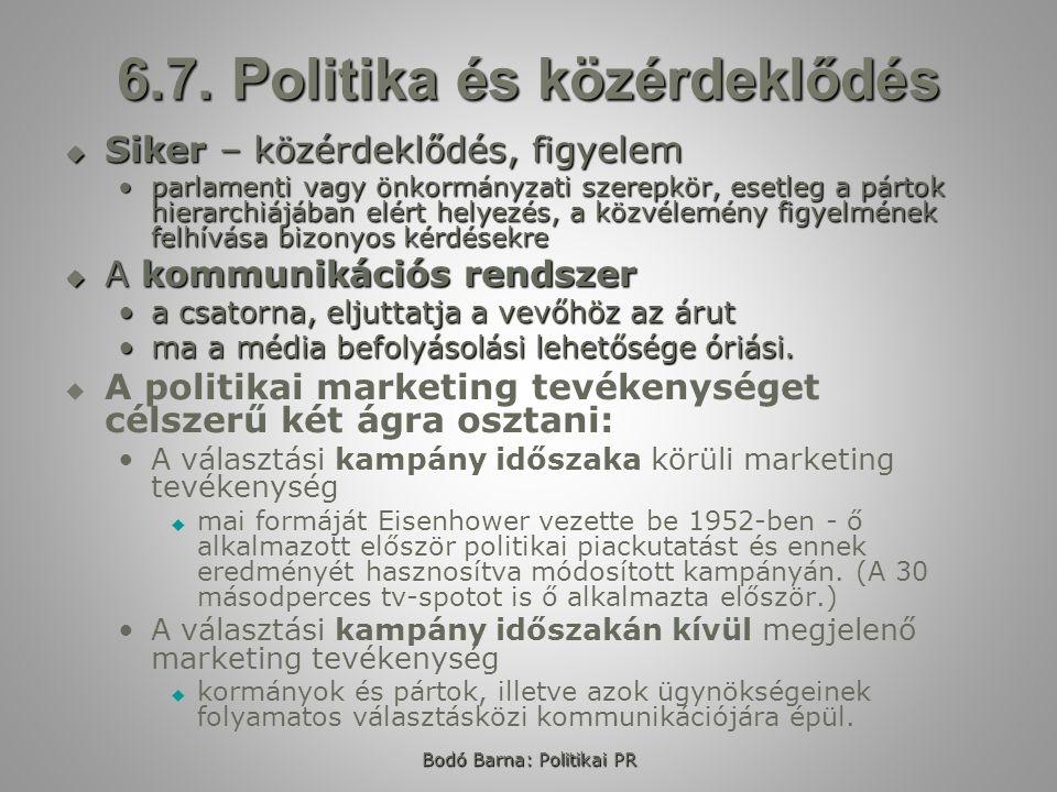 Bodó Barna: Politikai PR 6.7. Politika és közérdeklődés  Siker – közérdeklődés, figyelem parlamenti vagy önkormányzati szerepkör, esetleg a pártok hi