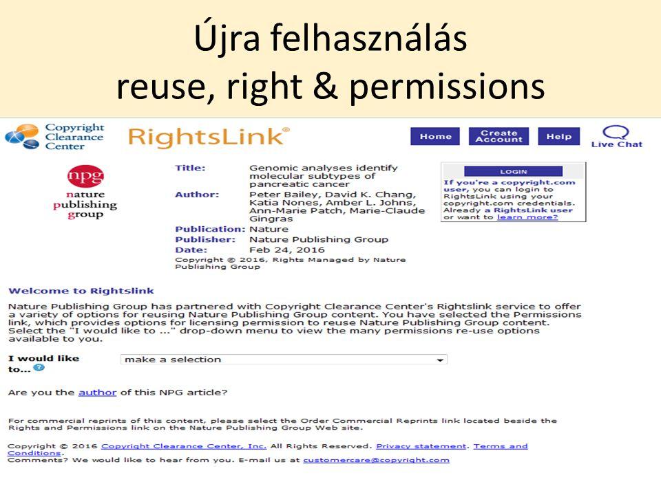 Újra felhasználás reuse, right & permissions