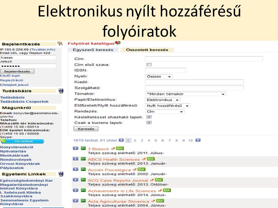 Elektronikus nyílt hozzáférésű folyóiratok 19/42