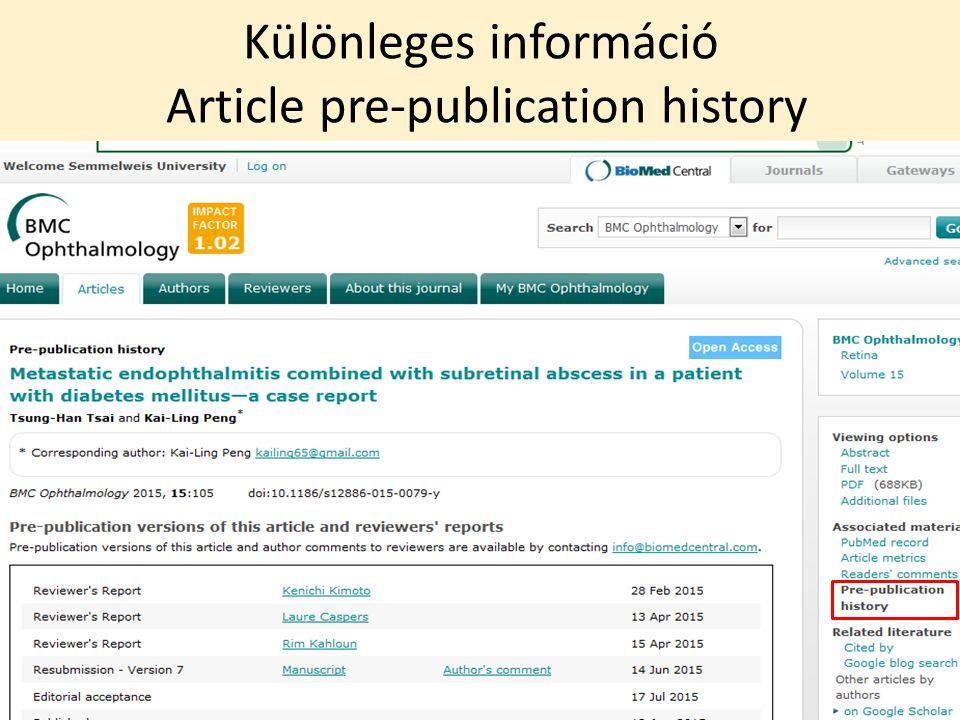 Különleges információ Article pre-publication history 20/42