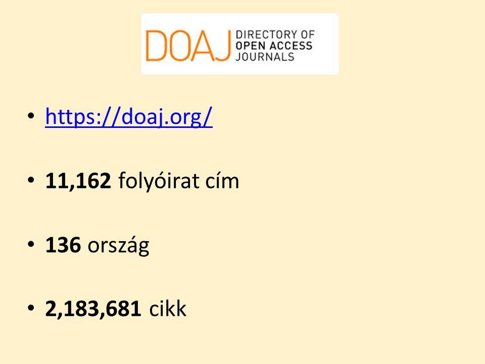 DOAJ https://doaj.org/ 11,162 folyóirat cím 136 ország 2,183,681 cikk