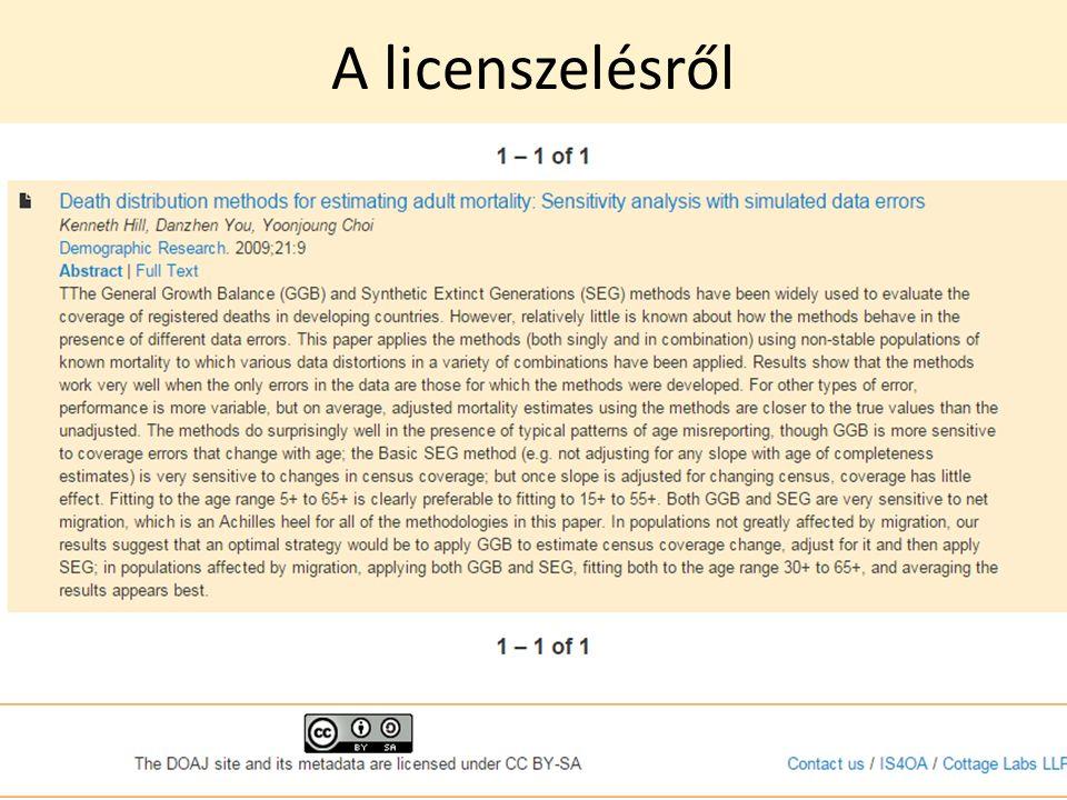 A licenszelésről 25/42