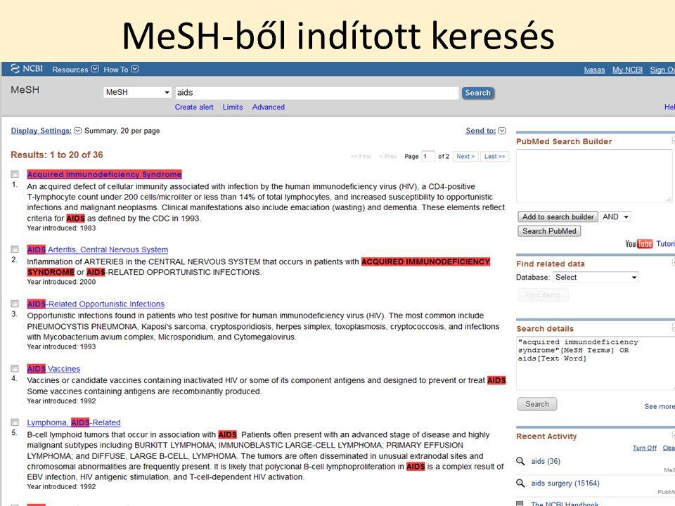 MeSH-ből indított keresés
