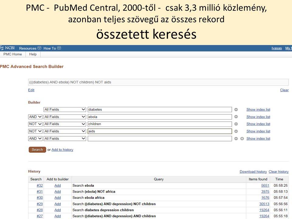 PMC - PubMed Central, 2000-től - csak 3,3 millió közlemény, azonban teljes szövegű az összes rekord összetett keresés
