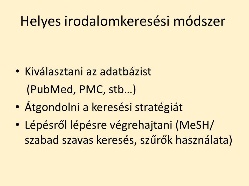 Helyes irodalomkeresési módszer Kiválasztani az adatbázist (PubMed, PMC, stb…) Átgondolni a keresési stratégiát Lépésről lépésre végrehajtani (MeSH/ szabad szavas keresés, szűrők használata)