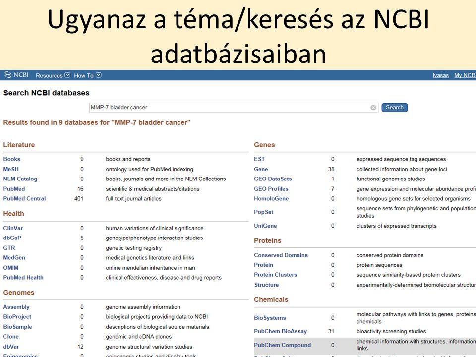 Ugyanaz a téma/keresés az NCBI adatbázisaiban