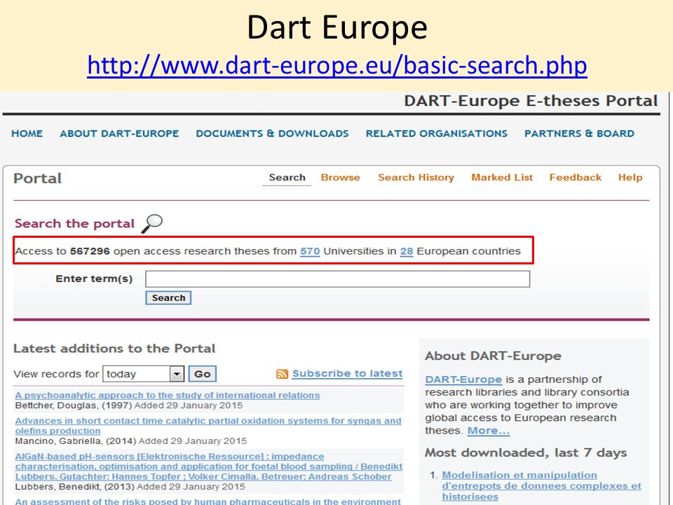 Dart Europe http://www.dart-europe.eu/basic-search.php http://www.dart-europe.eu/basic-search.php