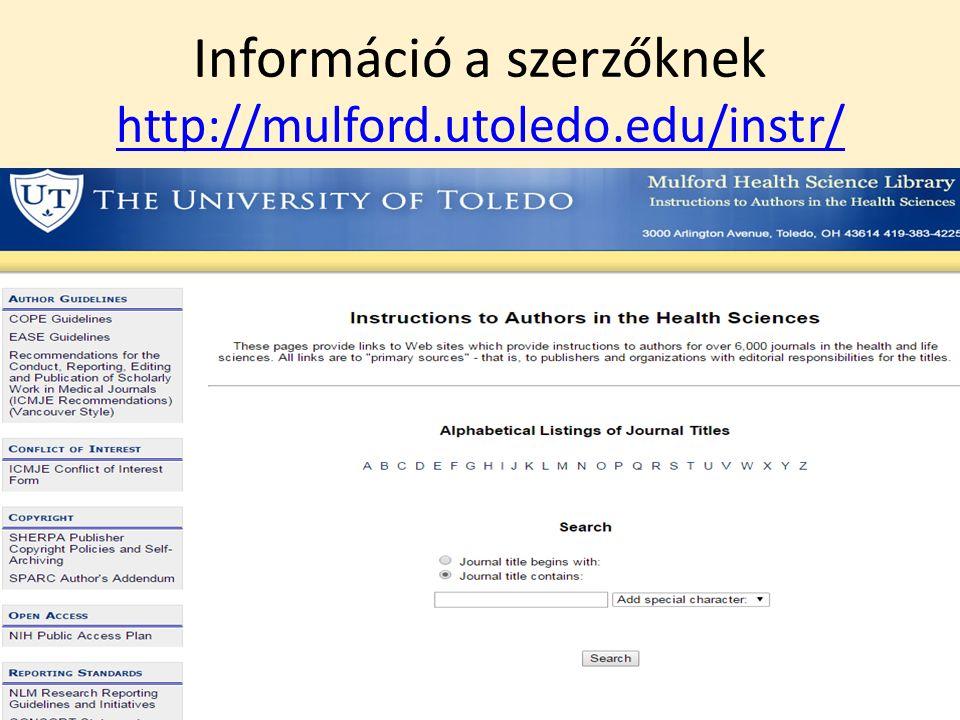 Információ a szerzőknek http://mulford.utoledo.edu/instr/ http://mulford.utoledo.edu/instr/ 7/42