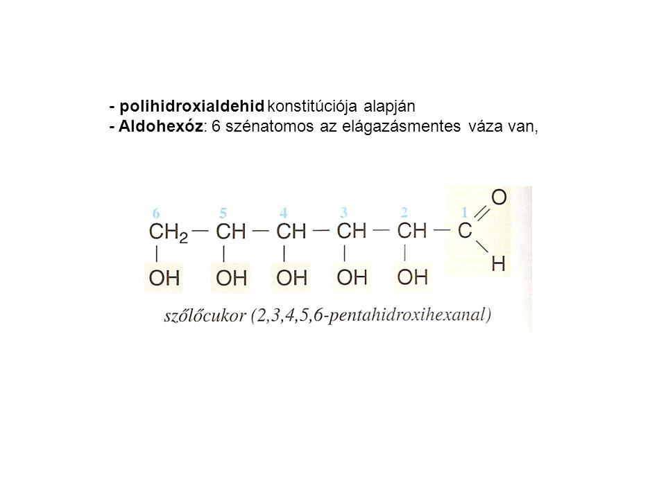 - polihidroxialdehid konstitúciója alapján - Aldohexóz: 6 szénatomos az elágazásmentes váza van,