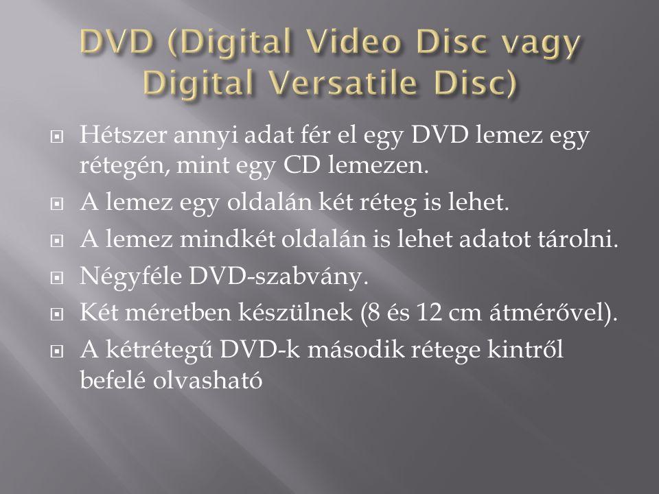  Hétszer annyi adat fér el egy DVD lemez egy rétegén, mint egy CD lemezen.