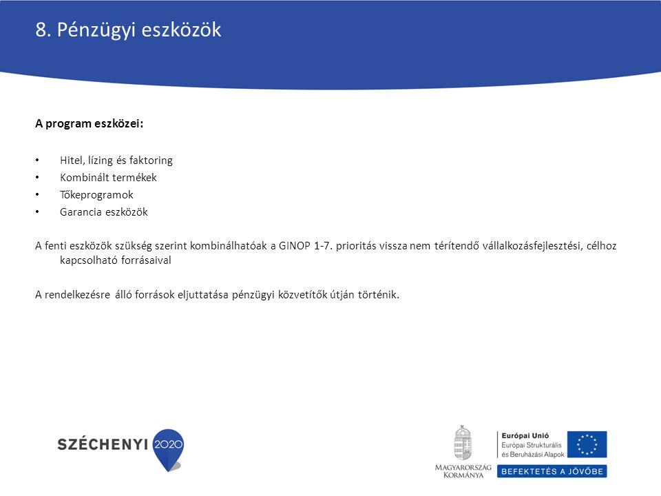 8. Pénzügyi eszközök A program eszközei: Hitel, lízing és faktoring Kombinált termékek Tőkeprogramok Garancia eszközök A fenti eszközök szükség szerin