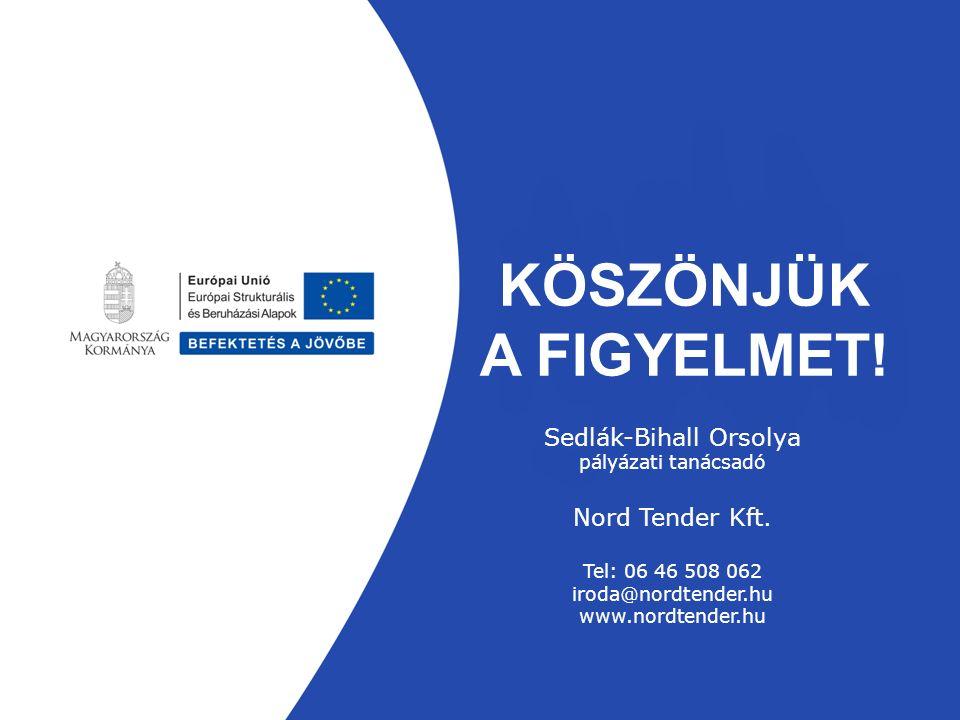 KÖSZÖNJÜK A FIGYELMET. Sedlák-Bihall Orsolya pályázati tanácsadó Nord Tender Kft.