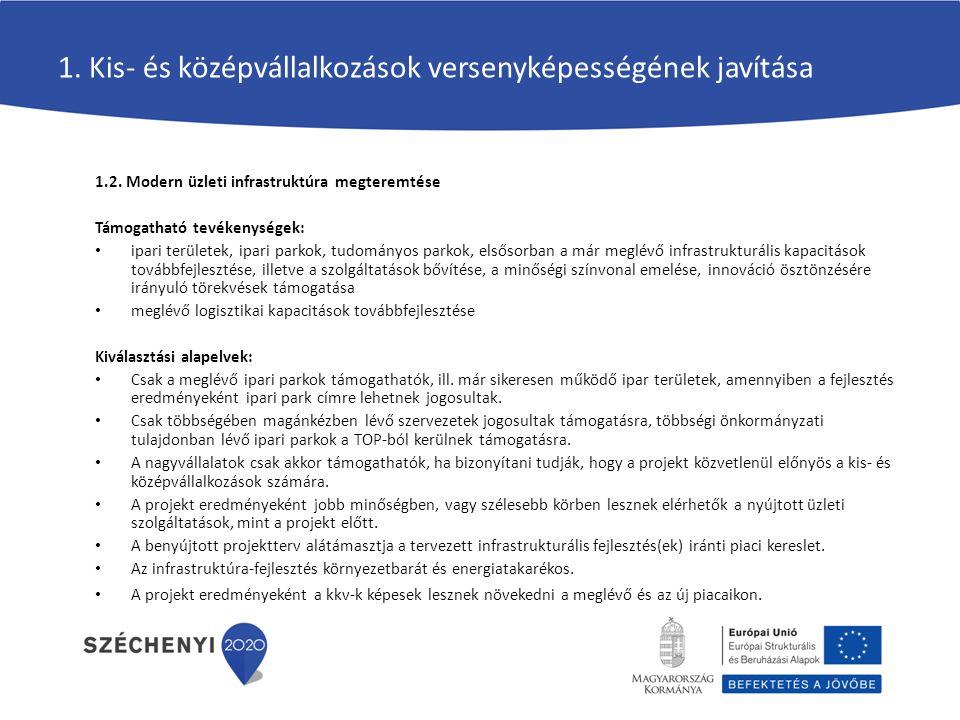 1.Kis- és középvállalkozások versenyképességének javítása 1.3.
