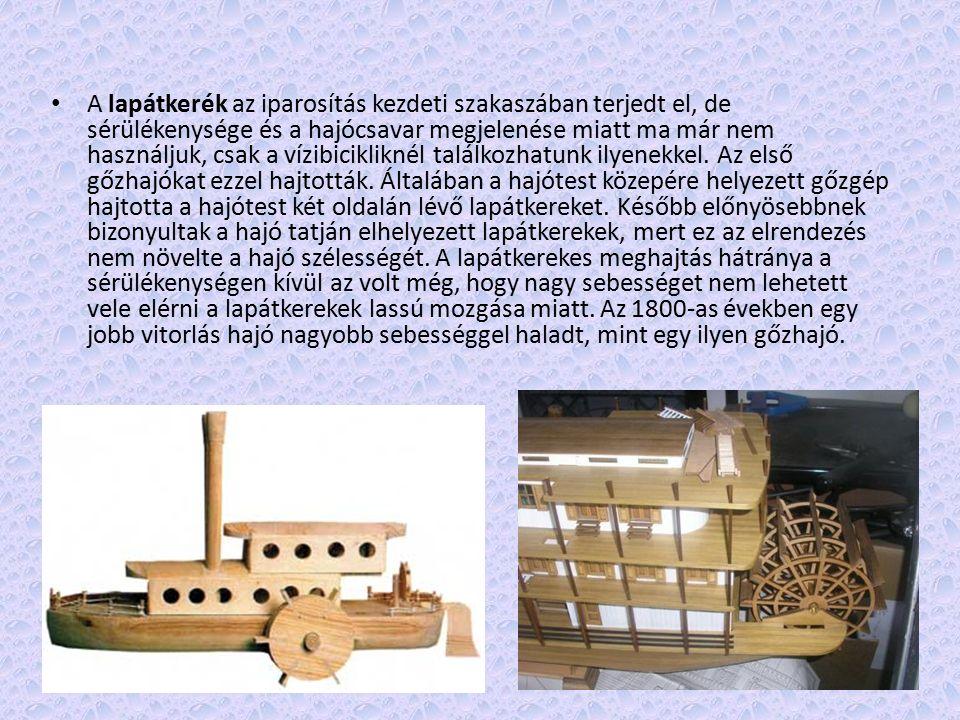 A lapátkerék az iparosítás kezdeti szakaszában terjedt el, de sérülékenysége és a hajócsavar megjelenése miatt ma már nem használjuk, csak a vízibicik
