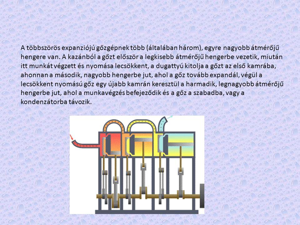 A többszörös expanziójú gőzgépnek több (általában három), egyre nagyobb átmérőjű hengere van.