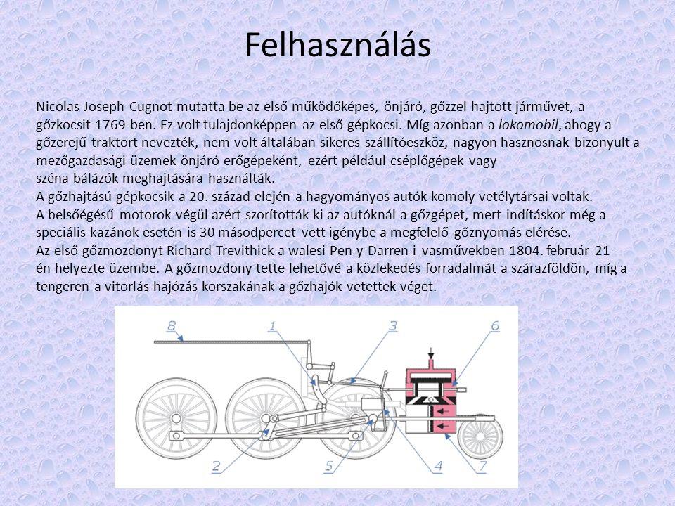 Felhasználás Nicolas-Joseph Cugnot mutatta be az első működőképes, önjáró, gőzzel hajtott járművet, a gőzkocsit 1769-ben.