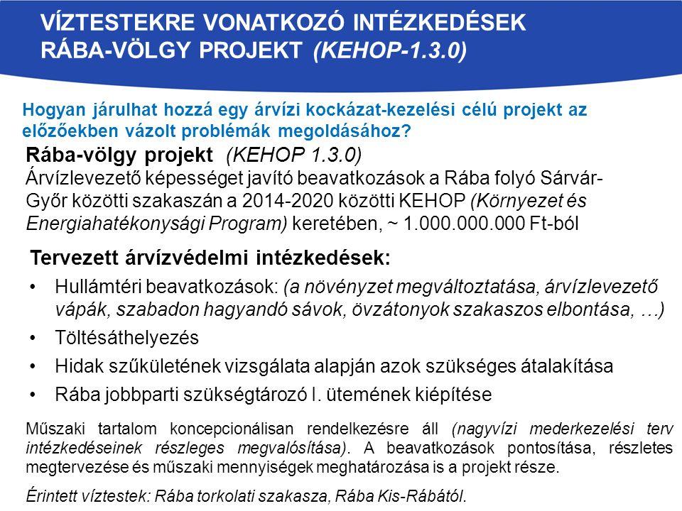 Rába-völgy projekt (KEHOP 1.3.0) Árvízlevezető képességet javító beavatkozások a Rába folyó Sárvár- Győr közötti szakaszán a 2014-2020 közötti KEHOP (Környezet és Energiahatékonysági Program) keretében, ~ 1.000.000.000 Ft-ból Tervezett árvízvédelmi intézkedések: Hullámtéri beavatkozások: (a növényzet megváltoztatása, árvízlevezető vápák, szabadon hagyandó sávok, övzátonyok szakaszos elbontása, …) Töltésáthelyezés Hidak szűkületének vizsgálata alapján azok szükséges átalakítása Rába jobbparti szükségtározó I.