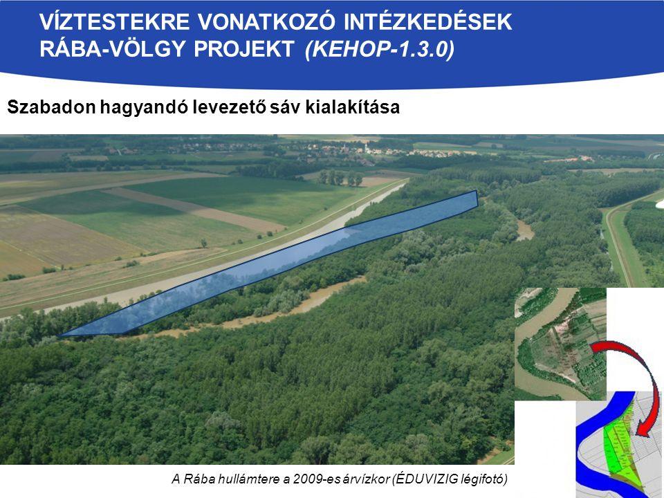 A Rába hullámtere a 2009-es árvízkor (ÉDUVIZIG légifotó) VÍZTESTEKRE VONATKOZÓ INTÉZKEDÉSEK RÁBA-VÖLGY PROJEKT (KEHOP-1.3.0) Szabadon hagyandó levezető sáv kialakítása