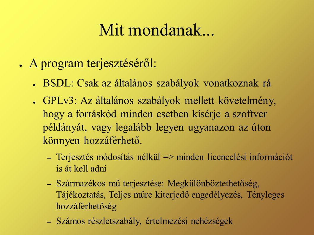 Mit mondanak... ● A program terjesztéséről: ● BSDL: Csak az általános szabályok vonatkoznak rá ● GPLv3: Az általános szabályok mellett követelmény, ho