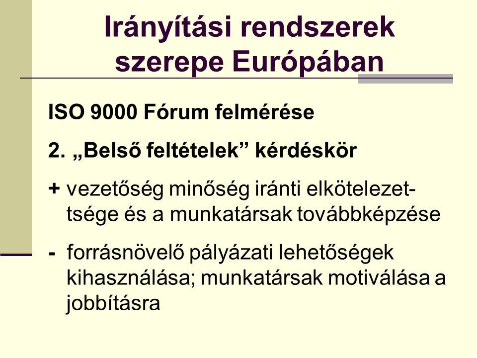 Irányítási rendszerek szerepe Európában Irányítási rendszerek szükségessége Beszállítók – alapkövetelmény Mikro- és kisvállalkozások létfeltétele a tanúsítvány megszerzése ↓ Piac
