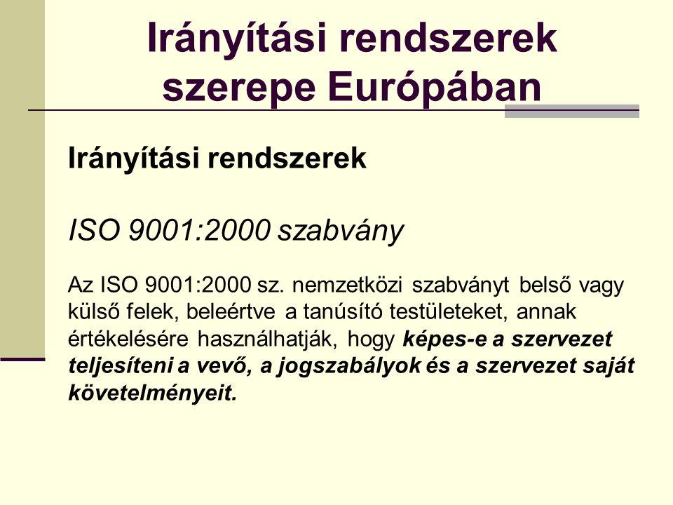 Irányítási rendszerek szerepe Európában Irányítási rendszerek ISO 9001:2000 szabvány Az ISO 9001:2000 sz.