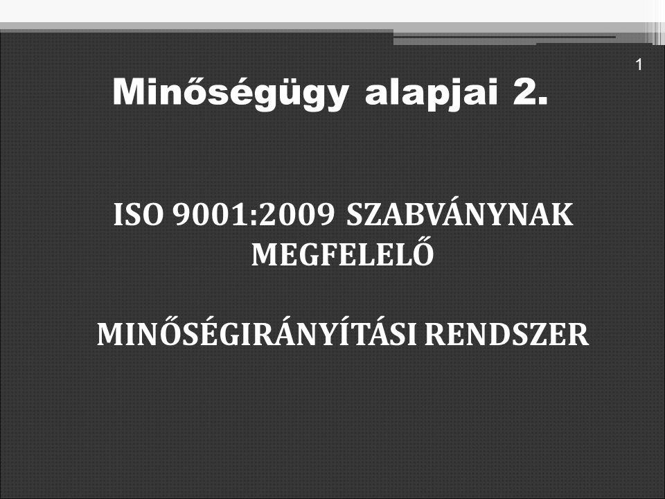 ISO 9001:2009 SZABVÁNYNAK MEGFELELŐ MINŐSÉGIRÁNYÍTÁSI RENDSZER 1 Minőségügy alapjai 2.