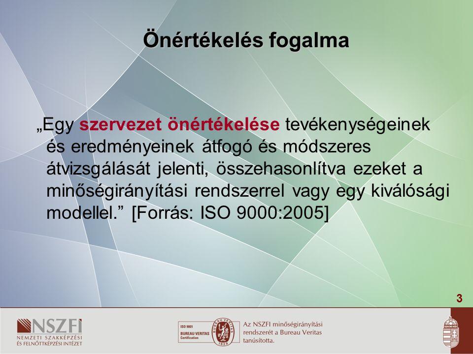 """3 """"Egy szervezet önértékelése tevékenységeinek és eredményeinek átfogó és módszeres átvizsgálását jelenti, összehasonlítva ezeket a minőségirányítási rendszerrel vagy egy kiválósági modellel. [Forrás: ISO 9000:2005] Önértékelés fogalma"""