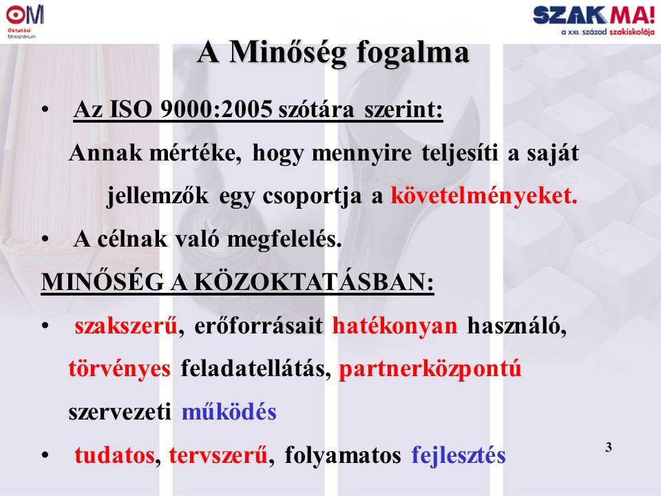 3 A Minőség fogalma Az ISO 9000:2005 szótára szerint: Annak mértéke, hogy mennyire teljesíti a saját jellemzők egy csoportja a követelményeket. A céln