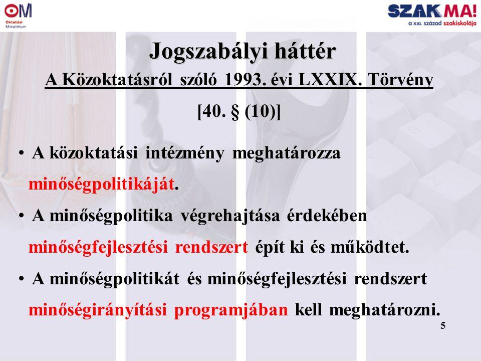 5 Jogszabályi háttér A Közoktatásról szóló 1993. évi LXXIX. Törvény [40. § (10)] A közoktatási intézmény meghatározza minőségpolitikáját. A minőségpol