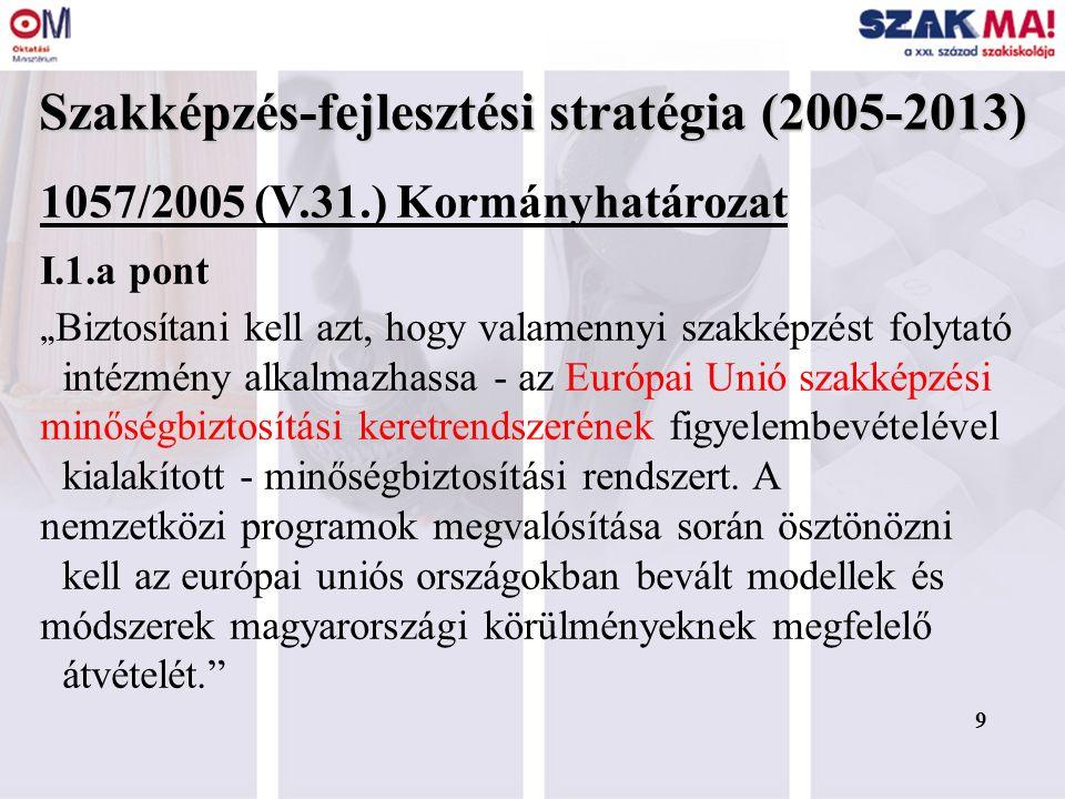 """9 Szakképzés-fejlesztési stratégia (2005-2013) 1057/2005 (V.31.) Kormányhatározat I.1.a pont """" Biztosítani kell azt, hogy valamennyi szakképzést folytató intézmény alkalmazhassa - az Európai Unió szakképzési minőségbiztosítási keretrendszerének figyelembevételével kialakított - minőségbiztosítási rendszert."""
