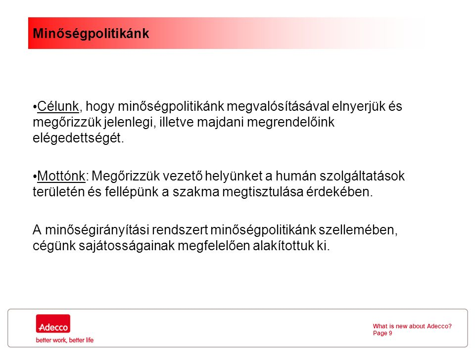 What is new about Adecco.