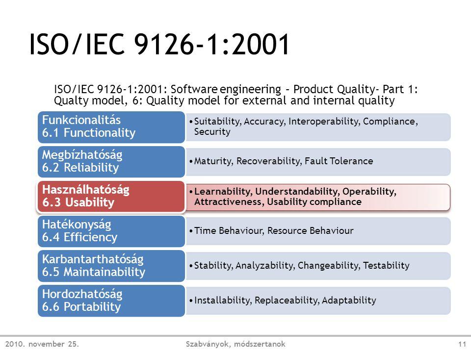 ISO/IEC 9126-1:2001 2010.