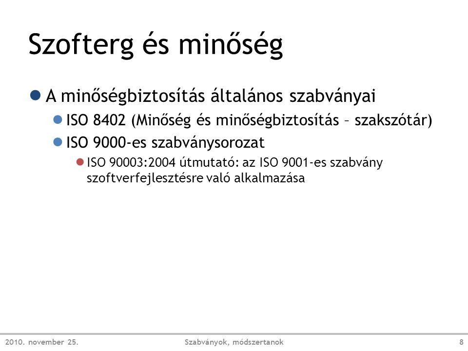 Szofterg és minőség ● A minőségbiztosítás általános szabványai ● ISO 8402 (Minőség és minőségbiztosítás – szakszótár) ● ISO 9000-es szabványsorozat ● ISO 90003:2004 útmutató: az ISO 9001-es szabvány szoftverfejlesztésre való alkalmazása 2010.