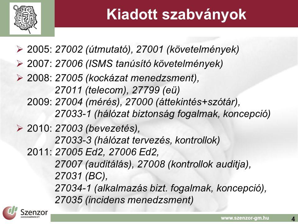4 www.szenzor-gm.hu Kiadott szabványok  2005: 27002 (útmutató), 27001 (követelmények)  2007: 27006 (ISMS tanúsító követelmények)  2008: 27005 (kockázat menedzsment), 27011 (telecom), 27799 (eü) 2009: 27004 (mérés), 27000 (áttekintés+szótár), 27033-1 (hálózat biztonság fogalmak, koncepció)  2010: 27003 (bevezetés), 27033-3 (hálózat tervezés, kontrollok) 2011: 27005 Ed2, 27006 Ed2, 27007 (auditálás), 27008 (kontrollok auditja), 27031 (BC), 27034-1 (alkalmazás bizt.