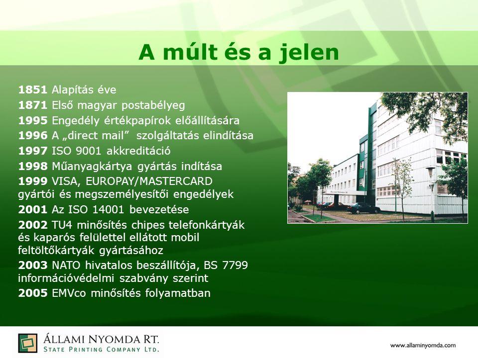 """A múlt és a jelen 1851 Alapítás éve 1871 Első magyar postabélyeg 1995 Engedély értékpapírok előállítására 1996 A """"direct mail szolgáltatás elindítása 1997 ISO 9001 akkreditáció 1998 Műanyagkártya gyártás indítása 1999 VISA, EUROPAY/MASTERCARD gyártói és megszemélyesítői engedélyek 2001 Az ISO 14001 bevezetése 2002 TU4 minősítés chipes telefonkártyák és kaparós felülettel ellátott mobil feltöltőkártyák gyártásához 2003 NATO hivatalos beszállítója, BS 7799 információvédelmi szabvány szerint 2005 EMVco minősítés folyamatban"""
