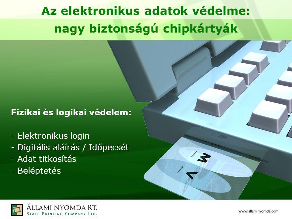 Az elektronikus adatok védelme: nagy biztonságú chipkártyák Fizikai és logikai védelem: - Elektronikus login - Digitális aláírás / Időpecsét - Adat titkosítás - Beléptetés