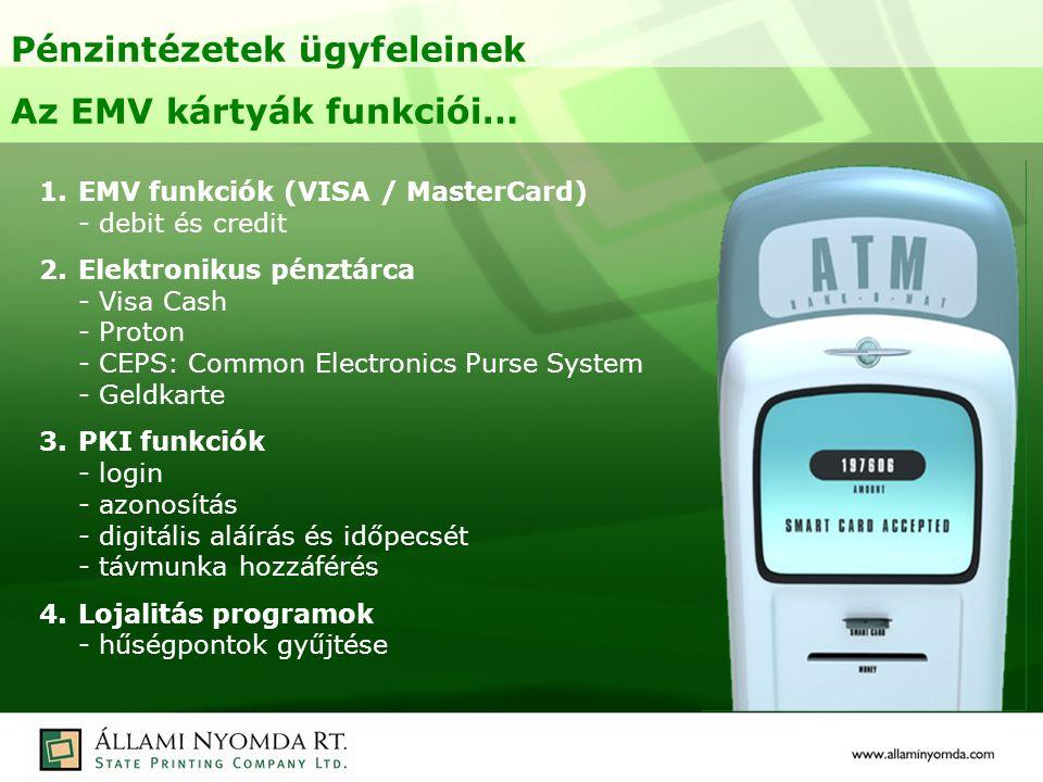 Pénzintézetek ügyfeleinek Az EMV kártyák funkciói… 1.EMV funkciók (VISA / MasterCard) - debit és credit 2.Elektronikus pénztárca - Visa Cash - Proton - CEPS: Common Electronics Purse System - Geldkarte 3.PKI funkciók - login - azonosítás - digitális aláírás és időpecsét - távmunka hozzáférés 4.Lojalitás programok - hűségpontok gyűjtése