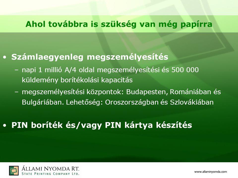 Ahol továbbra is szükség van még papírra Számlaegyenleg megszemélyesítés –napi 1 millió A/4 oldal megszemélyesítési és 500 000 küldemény borítékolási kapacitás –megszemélyesítési központok: Budapesten, Romániában és Bulgáriában.